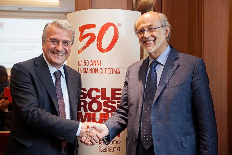Massimo Piccioni (INPS) e Mario Alberto battaglia (AISM)